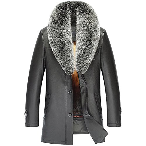 Men's Golden Mink Fur Lined Lambskin Coat Removable Natural Supple Fox Collar - Golden Mink Fur Coat