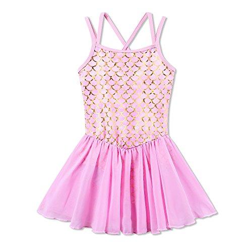 BAOHULU Girl's Ballet Dance Camisole Skirted Leotards Dancewear B186_MermaidPink_XXL