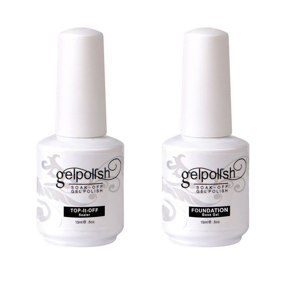 Kanorine Soak Off Gel Polish NailArt Base Foundation Coat & No-Wipe Top Coat 15ml