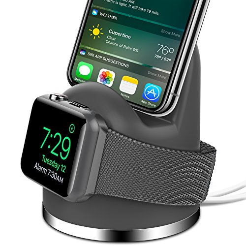 OLEBR Apple Watch Stand iPhone X/8/8Plus/7/7Plus/6s/6s Plus Dock, [2 in 1 Charging Dock]Apple Watch Charging Stand, Charger Station for iWatch Series 3/2/1/Nike+,iPhone 5/SE-Space Gray(Not a charger)