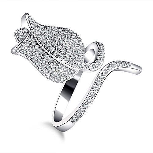 Carfeny Rose Flower Statement Rings for Women White Gold Plated Adjustable Fashion Ring Paved With Many Shiny Crystals - Things In Have That Them Titanium