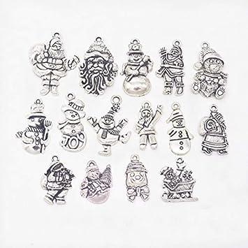 Weihnachten Anhänger Set Metall 15 Motive für Halskette Armband Schmuck F72