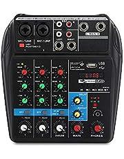 XTUGA A4 Mezclador de sonido de 4canales con Bluetooth, USB, grabadora, 48 V, alimentación Phantom, adaptador de corriente, conector para Monitor, más efectos, Uso para producción de música en casa, webcast, grabación