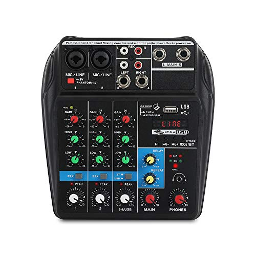 A4 4Channels Audio Mixer Sound Mixing Console with Bluetooth USB