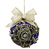 Mark Roberts Jewels and Glass Christmas Ornament 5 inch 36-72980 Vintage Floral Peacock