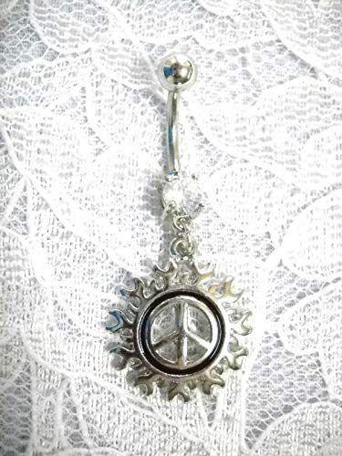 (New SS Peace Sign w Flames w Clear Navel Belly Ring KEZ-2000)