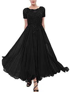 Ysmo Womens Chiffon Mother of The Bride Dress Short Sleeves Tea Length Prom Dress Formal Gowns