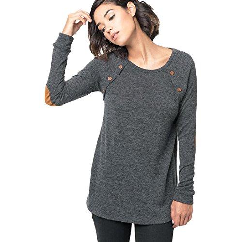 FAPIZI ♥ Women Sweater ♥ Women Long Sleeve Round Neck Button Blouse Tops (XL, Gray)