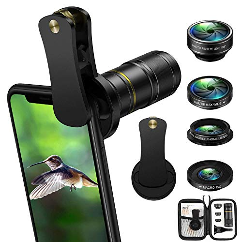 Phone Camera Lens, 5 in 1 Cell Phone Camera Lens Kit, 12X Telephoto Lens + 198° Fisheye Lens + 0.6X Wide Angle Lens + 15X Macro Lenses + CPL Compatible for iPhone X 8 7 6 6s Plus Samsung & Android (Fisheye Camera Lens Phone)