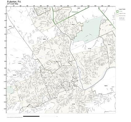 Amazon com: ZIP Code Wall Map of Fullerton, PA ZIP Code Map