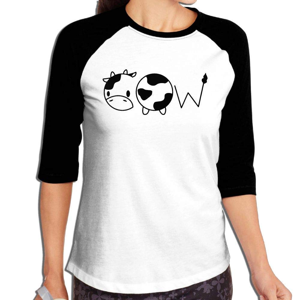 LJXTYJM Women Cow 3//4 Sleeve Raglan Baseball T-Shirt