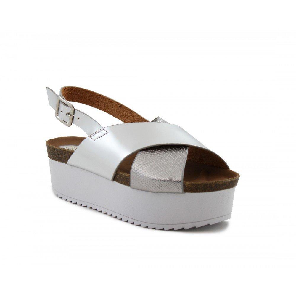 6586460de Sandalia Plataforma Tiras combinadas Piso Blanco Plata - Benavente   Amazon.es  Zapatos y complementos