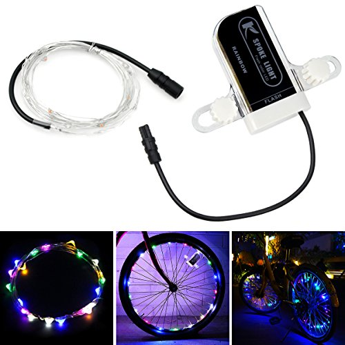allnice Bike Wheel Lights Waterproof 20LED Bike Spoke Lights USB Rechargeable Colorful Cycling Lights Bicycle Tire Accessories for Night Riding Safety Warning and Decoration (Multicolor, 1 Pack) by allnice