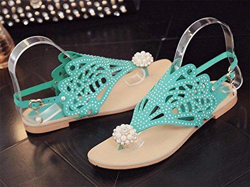 La Sra mujeres sandalias de verano informal y zapatillas con zapatos inferiores gruesos dulce tanga Green