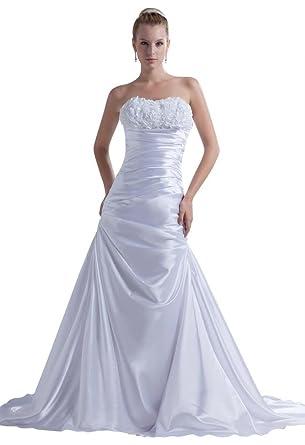 GEORGE BRIDE Formale Huebsche traegerlose Satin-Hochzeitskleid im ...