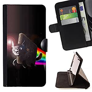 DEVIL CASE - FOR Samsung Galaxy S4 IV I9500 - Lynx Flying Space Cat Rainbow Art Moon - Style PU Leather Case Wallet Flip Stand Flap Closure Cover