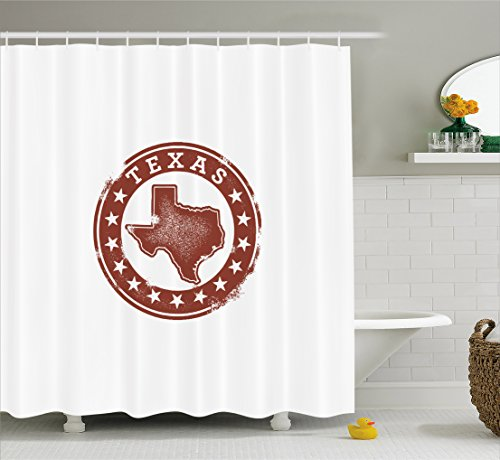 Dallas Stars Drapes (Lunarable Texas Shower Curtain by, Classical Rubber Stamp of Western Cowboy Country State Map Stars Dallas Houston, Fabric Bathroom Decor Set with Hooks, 84 Inches Extra Long, Cinnamon White)