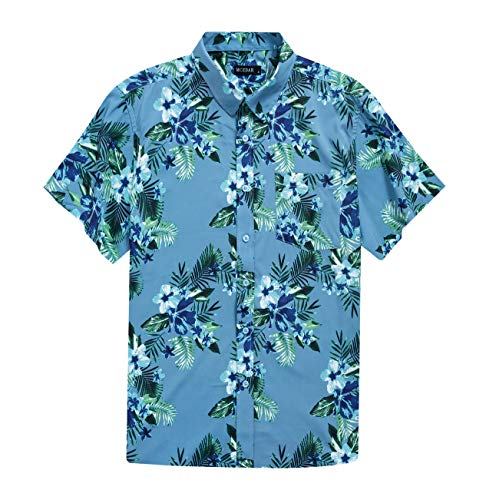 MCEDAR Men's Hawaiian Short Sleeve Shirt Aloha Flower Print Casual Button Down Beach Shirts (Blue Floral, Large) ()