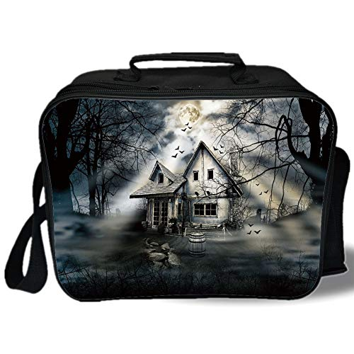 Halloween 3D Print Insulated Lunch Bag,Haunted House with