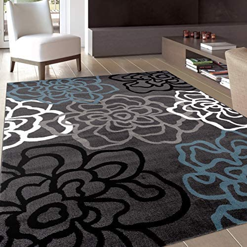 Contemporary Modern Floral Flowers Gray Area Rug 9 X 12