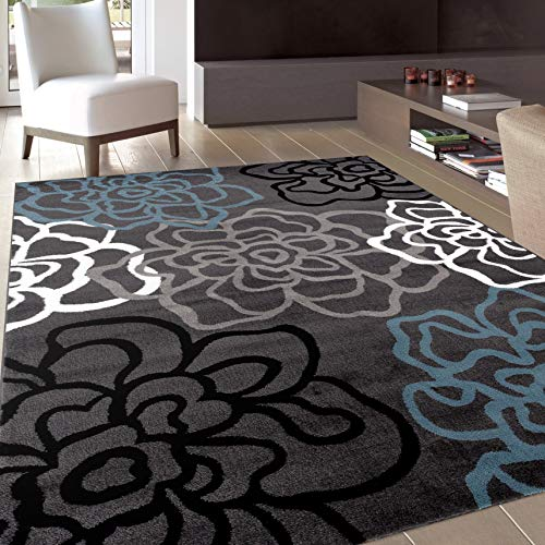 Contemporary Modern Floral Flowers Gray Area Rug 7′ 10″ X 10′ 2″