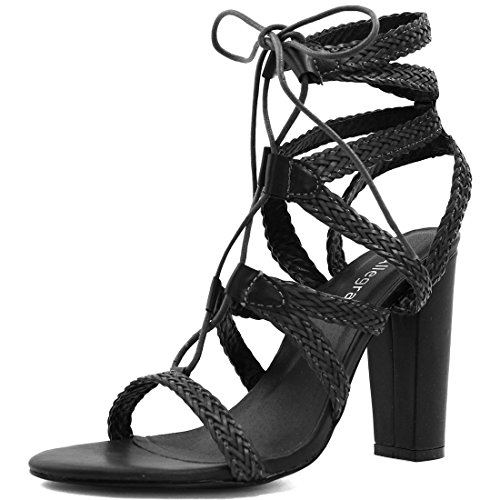 Allegra K Mujer Tacón Grueso Trenzado Con correas Con Cordones Sandalias Negro