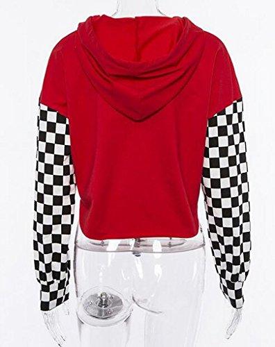 2471ecf9daf ARTFFEL Women Loose Long Sleeve Checkerboard Crop Top Pullover Hoodie  Hooded Sweatshirts at Amazon Women s Clothing store