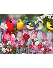 DIY 5D Diamond Painting Full Round Drill Kit Picture Art Craft Home Wall Decor gift,Five little birds on flowers 11.8x15.8 inch
