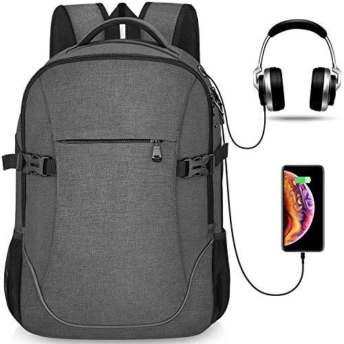 Lightweight Travel Laptop Backpack Dark Grey for Officer Men & Women, School College Student , 15.6 -17 inch MacBook/Notebook