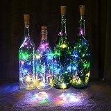 Solar LED String Light, Elevin(TM) 2M 20LED Solar Cork Wine Bottle Stopper Copper Wire String Lights Fairy Lamps (Multicolor)