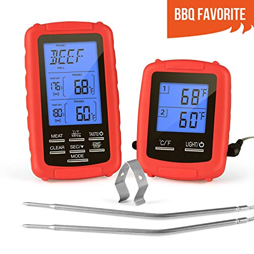 Digital Meat Thermometer Wireless Remote Cooking Food BBQ Grill Thermometer for BBQ Grilling/Kitchen Cooking/Smoker/Oven, Instant Read BBQ Thermometer with Dual Probe, 230 Feet Range, Alarm & Flash