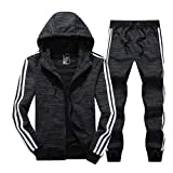 Real Spark Men's Athletic 3-Stripe Full-Zip Jogger Sweat Suit Casual Sports Tracksuit Black XS