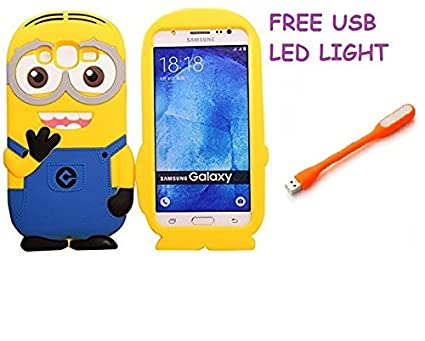 buy online eca02 a7769 Samsung Galaxy J2 Pro Back Cover 3D Funny Cartoon Minion Soft Rubber  Silicone Back Case Cover With Free USB LED Light