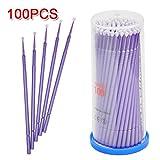 Yesurprise 100 PCS Disposable Eyelash Swabs Brush Mascara Wands Applicator Lash Extensions Micro Brushes Purple