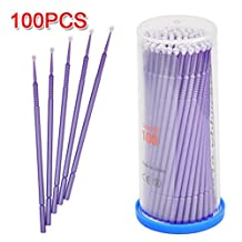 Yesurprise 100 PCS Disposable Eyelash Swabs Brush Mascara Wands Applicator Lash Extensions Micro Brushes Purple