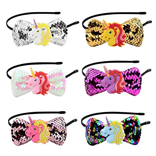 Unicorn Headbands with Glitter Hair Bows for Pupil Girls Cute Plastic Headband and Sparkling Hair Accessories in Bulk for Baby Girls Daily Wear & Cosplay Party (Pack of 6) -