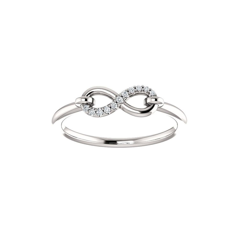 Amazon 14k White Gold 04 CTW Diamond Infinity Inspired Ring