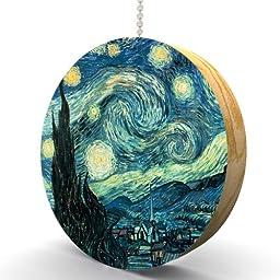 Van Gogh Starry Night Hardwood Oak Fan / Light Pull