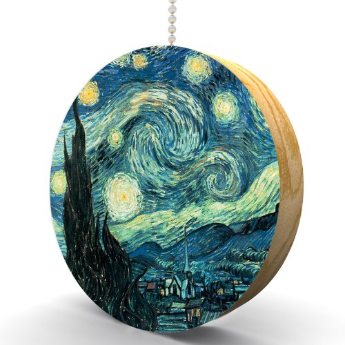 Van Gogh Starry Night Hardwood Oak Fan / Light Pull