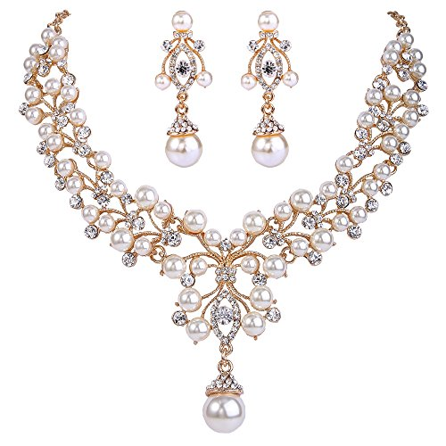 EVER FAITH Flower Simulated Pearl Wedding Jewelry Set Clear Austrian Crystal - Gold-Tone