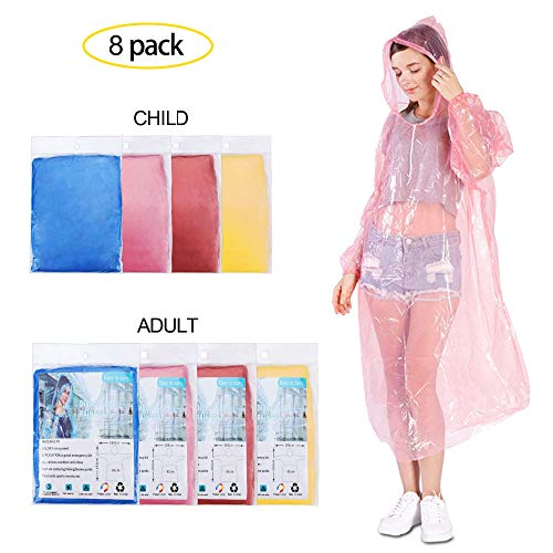 YEIO Disposable Rain ponchos for adults and kids, 8 Pack Raincoat for Men/Women/kid,Clear adult ponchos with hood, Emergency waterproof for Theme Parks, Hiking, Camping, Sports Events and Outdoor