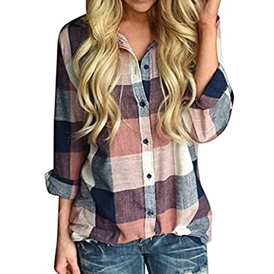 FEITONG Women Casual Matching Color Plaid Long Sleeve Button Loose Shirt Blouse Top