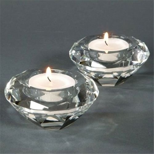 Crystal Plum Blossum Tea Light Candle Deluxe Holders for Weddings, Bridal Shower & Special Event Decorations, set of 2