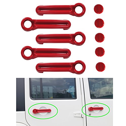MOEBULB 5x5 Plated 4 Door Pull Handle Cover & Tailgate Handle Cover for 2007-2017 Jeep Wrangler JK / 2008-2012 Jeep Liberty / 2007-2011 Dodge Nitro - Red Jeep Liberty
