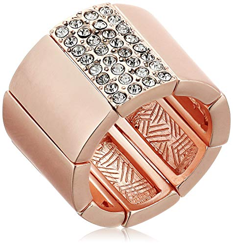 (T Tahari Women's Stretch Cigar Band Ring, Rose Gold, Expandable)