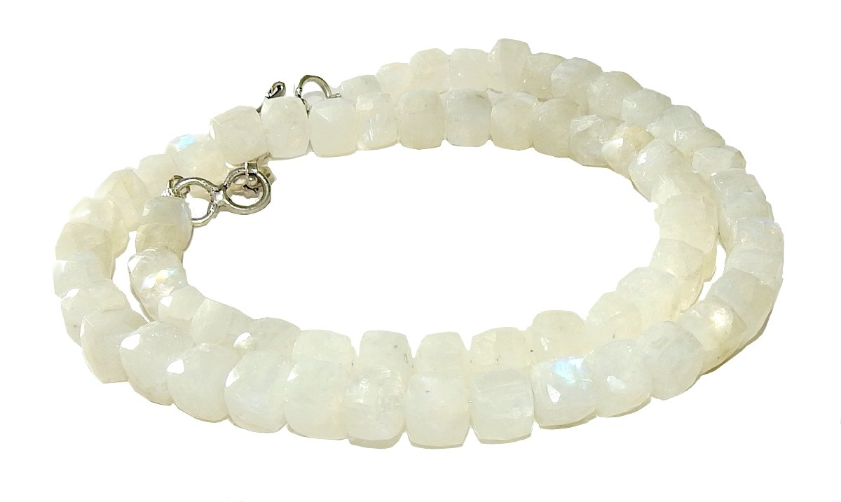 Moonstone Necklace 03 Natural White Flashes Spiritual Healing Crystal Energy (Gift Box)