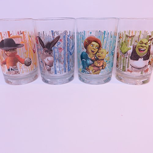McDonald's 2007 Shrek the Third Collectible Glasses - Complete Set of 4