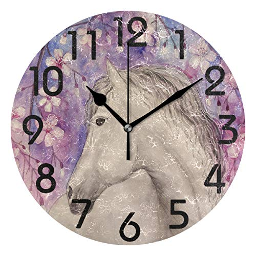 Naanle Beautiful White Horse Print Round Wall Clock, 9.5 Inch Battery Operated Quartz Analog Quiet Desk Clock for Home,Office,School