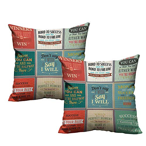 ple Pillowcase Collection of Uplifting Messages Quotes Life Wisdom Art Success Themed Artwork Machine Washable W19 x L19 Red Green Beige ()