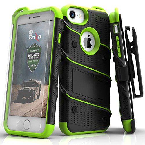 Zizo Bolt Series iPhone 8 / 7 Case - Tempered Glass Screen Protector with Holster and 12ft Military Grade Drop Tested (Black & Neon Green) (Case Screen Green)
